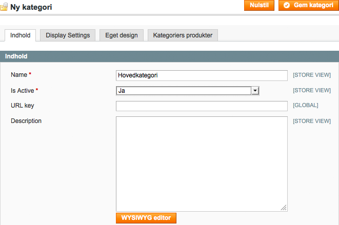 Magento - Opret ny rodkategori